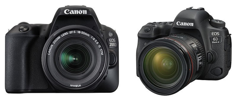 From L-R: Canon EOS 200D, Canon EOS 6D Mark II. <br>Image source: Canon.