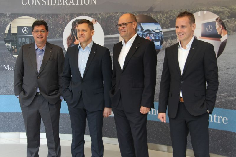 From L-R: Mike Ponnaz, Managing Director, Mercedes-Benz Services Malaysia; Dr. Claus Weidner, President and CEO, Mercedes-Benz Malaysia Sdn Bhd; Heinrich Schromm, Vice President, After Sales, Mercedes-Benz Cars; and Mark Raine, Vice President, Sales & Marketing, Mercedes-Benz Cars.