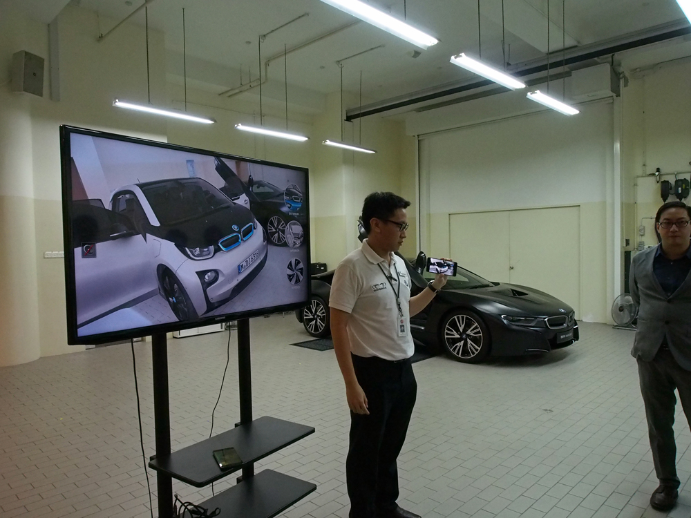 BMW demonstrates the AR-based Visualizer app.