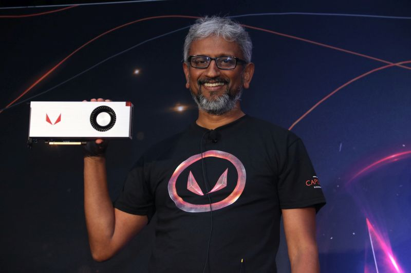 Raja Koduri, Senior VP and Chief Architect, Radeon Technologies Group, holding up the Radeon RX Vega 64 limited edition.