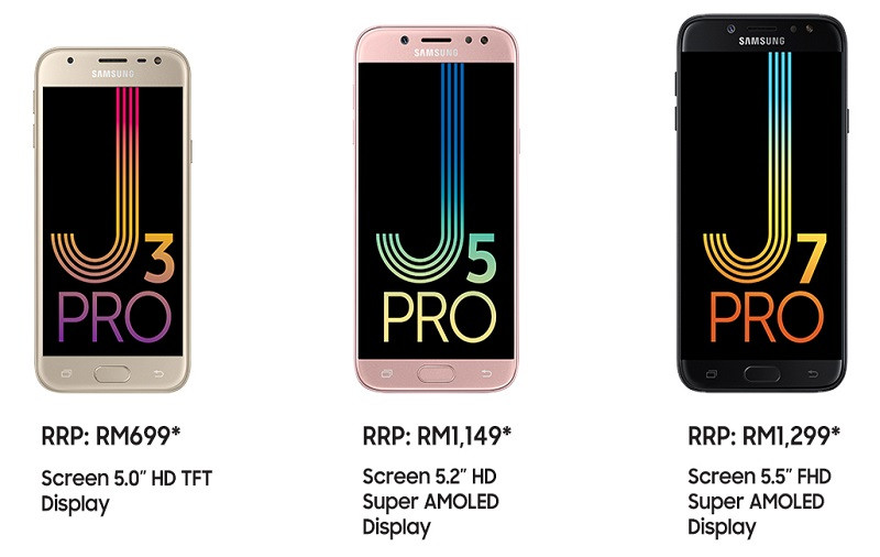 From L-R: The Galaxy J3 Pro, Galaxy J5 Pro, and Galaxy J7 Pro. <br> Image source: Samsung.