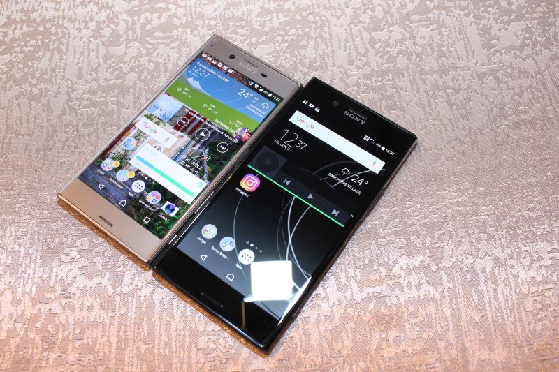 Two generations meet: the Sony Xperia XZ (left) and the Sony Xperia XZ Premium (right).