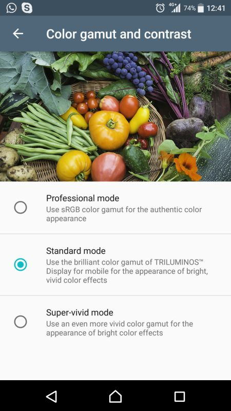 Out of the box, the Xperia XZ Premium's Standard mode runs on the TRILUMINOS Display mode.
