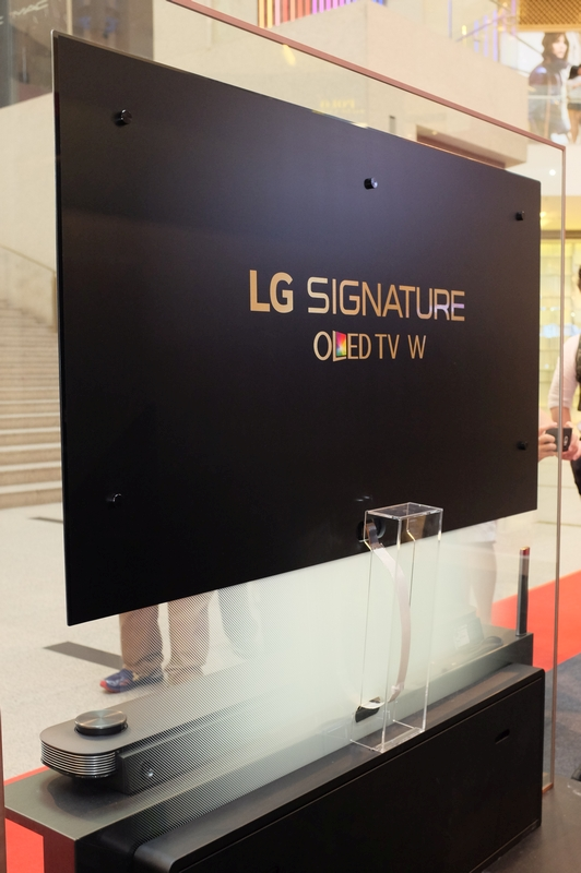 lg tv w. The OLED W7 Is Mounted Using Four Magnetic Brackets, With A Single Ribbon Cable Connecting Lg Tv W U