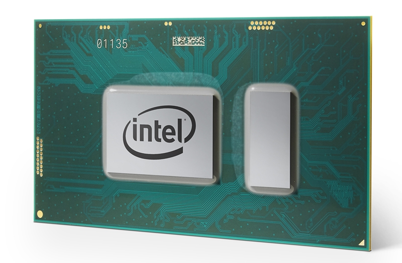 The front of an 8th generation Intel Core U-series CPU. <br>Image source: Intel.