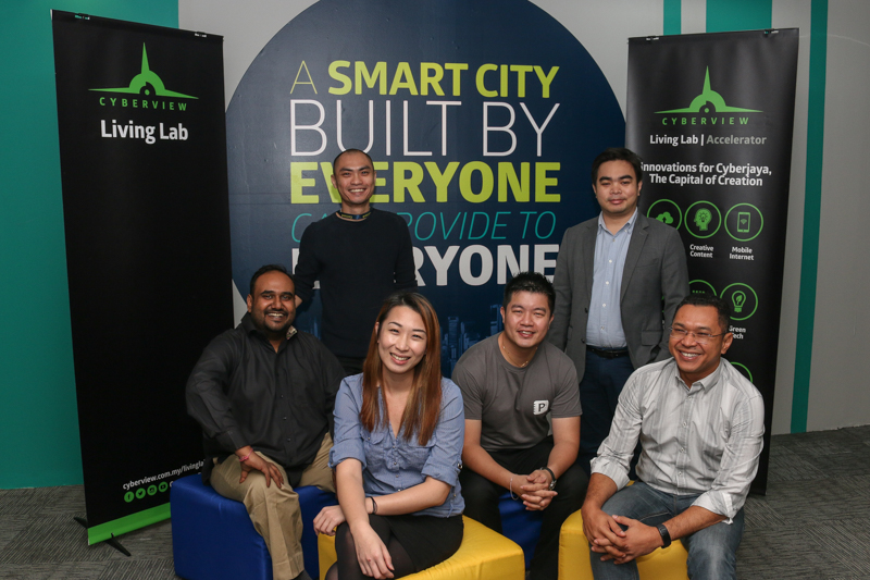 From L-R: (back row) Jeremy Chong, Managing Director, PrimeKeeper; M. Afiq Hazman, Chief Operating Officer and Co-Founder, TrackerHero <br> (front row) Devan Kumar, Head of Operations, Future Integrated Networks; Melanie Loh, Special Projects, Fantastic Moves International Inc.; Michael Tan, Director of Stakeholder Engagement, PrimeKeeper; and Mahadhir Aziz, Head, Technology Hub Development Division, Cyberview Sdn Bhd.