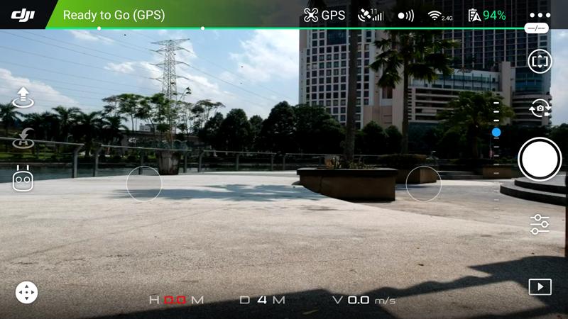 The flight interface of the DJI GO 4 app.