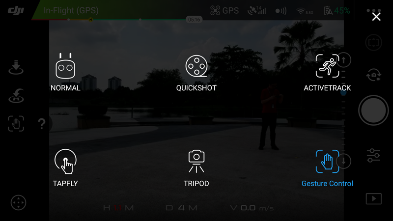 A screenshot from the DJI GO 4 app from our review of the DJI Spark.