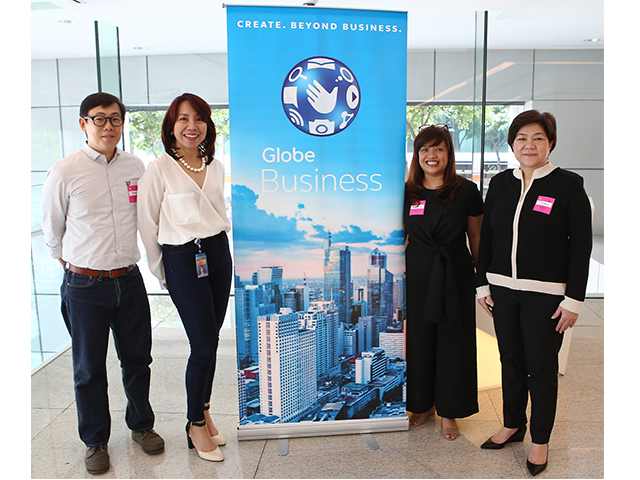 (L-R) Convergys Director for Client Services Benito Sy; Globe Chief Customer Experience Officer Beck Eclipse; Convergys Senior Director for Account Management Marivi Valencia; and Convergys President for the Asia-Pacific Ivic Mueco