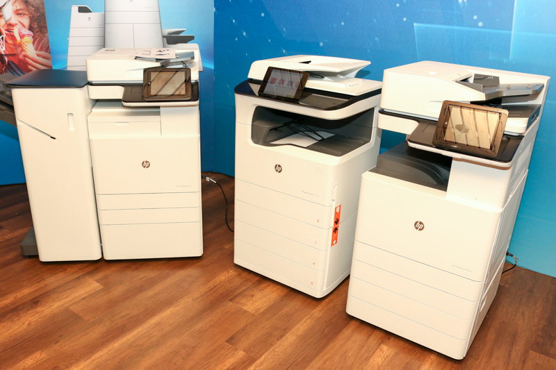 From L-R: The HP Color LaserJet Managed MFP E77830, the HP PageWide Managed P77760z, and the HP LaserJet Managed MFP E82540.
