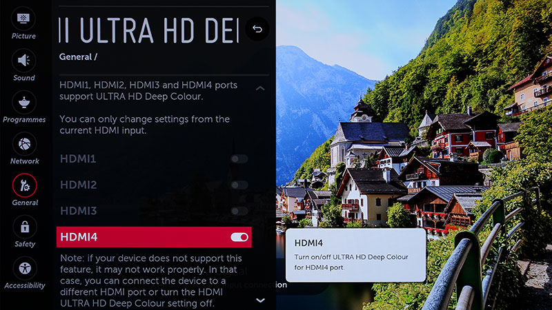 Ultra HD Deep Color should automatically kick in when HDR sources (e.g., HDR UHD Blu-ray players) are detected. If you want to play it safe, come to this page to confirm.