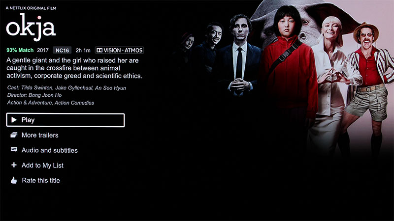 Okja is the first movie on Netflix to support Dolby Atmos. More titles such as Blame!, Death Note, Bright, and Wheelman are promised the Atmos treatment.