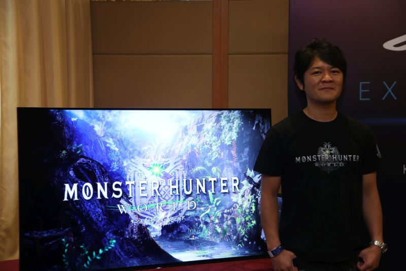 Ryozo Tsujimoto, producer of Monster Hunter: World during the press-only presentation at PSX 2017 SEA.
