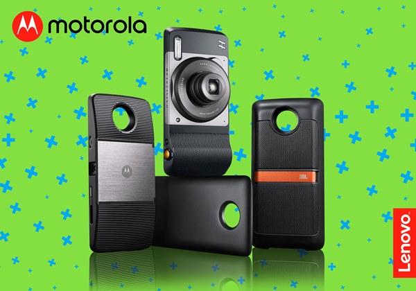 Motorola, Moto Z2 Play, Moto Mods, Moto Insta-Share Projector, JBL SoundBoost Speaker, Incipio offGRIDTM Power Pack, Hasselblad True Zoom, smartphone, accessories, projector, speaker, camera, lens, battery, powerbank