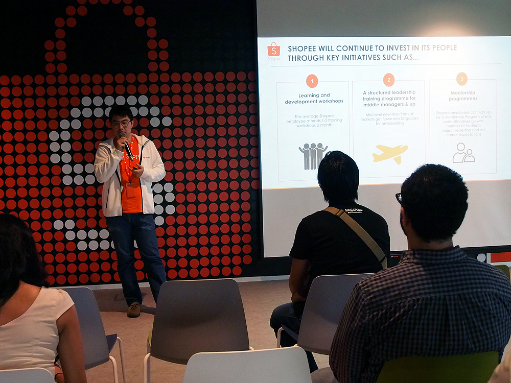 Zhou Junjie - Shopee's CCO, Country Head of Shopee Singapore, Regional Head of Shopee's Crossborder Business Unit - explaining how Shopee makes its waves.