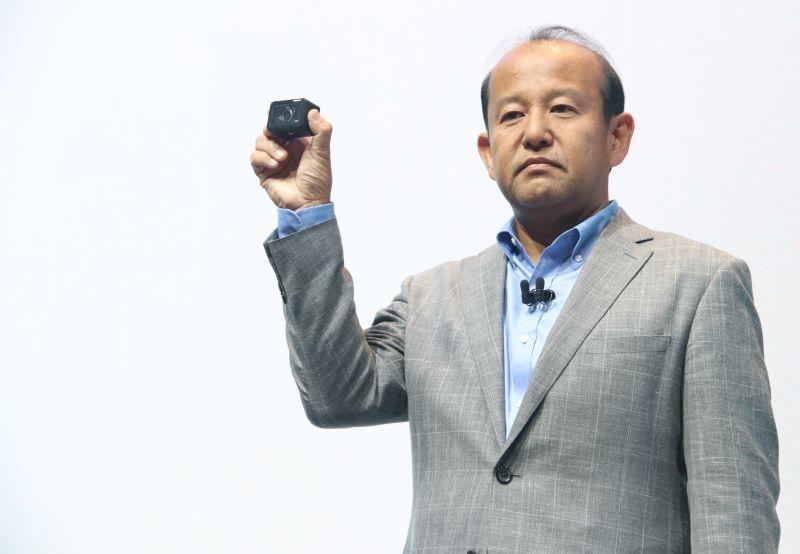 Kumekawa holding Sony's new RX0 digital camera.