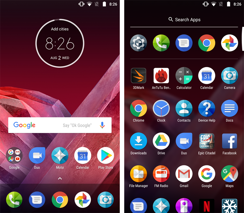Swiping up from the bottom of the Z2 Play's display will bring up the app drawer.
