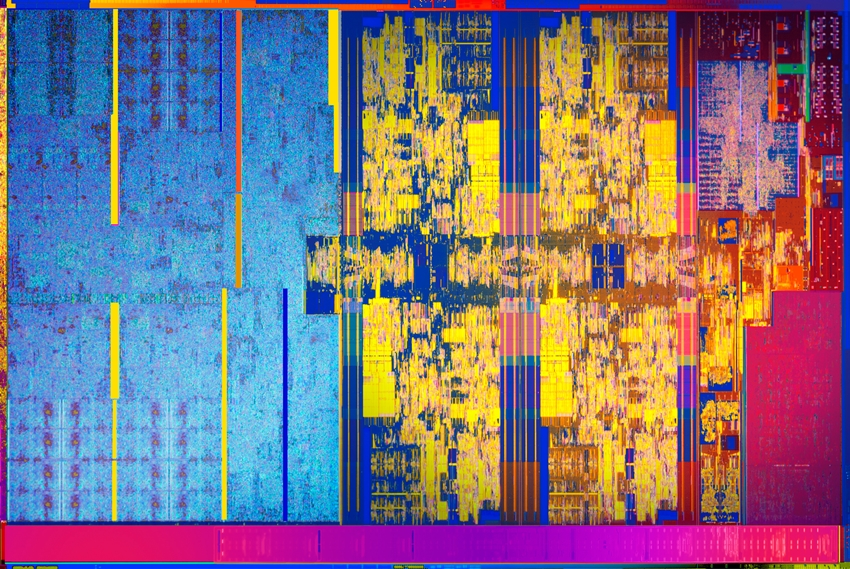 A die shot of the 8th generation Intel Core U-series mobile processor. <br>Image source: Intel.