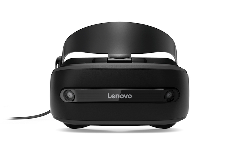 The Lenovo Explorer weighs a mere 380g, with two motion-tracking cameras on the front to provide inside-out tracking. <br>Image source: Lenovo.