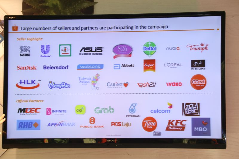 A list of Shopee's many partners participating in its 9.9 Online Shopping Day campaign.
