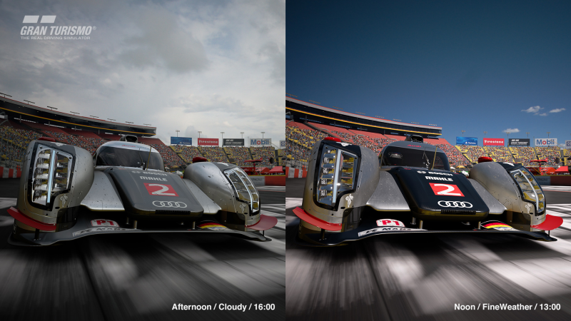 In lieu of dynamic weather and time transitions, GT Sport opted to allow players to set the time of day before the start of the race. <br>Image source: Sony Interactive Entertainment.