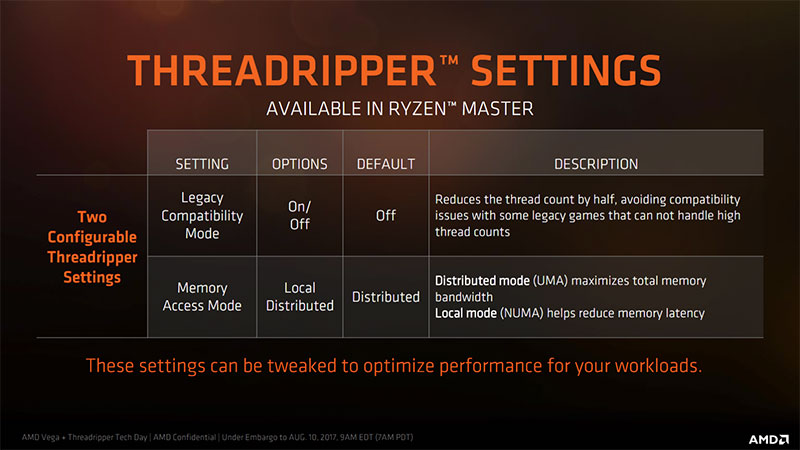 RyzenMaster lets you put the CPU in Legacy Compatibility Mode to run older games. (Image Source: AMD)