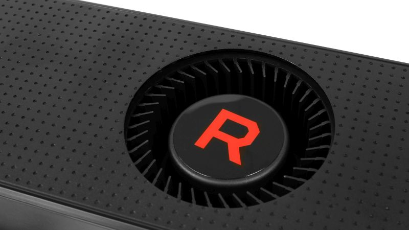 Like all reference coolers, the Radeon RX Vega 56 uses a blower-style fan that exhausts the air out the back of the card.