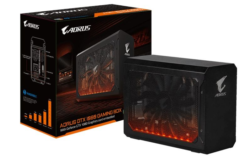 The AORUS GTX 1080 Gaming Box features Gigabyte's RGB Fusion lighting, which is sure to set it apart from all other external GPU boxes out there. <br>Image source: Gigabyte.