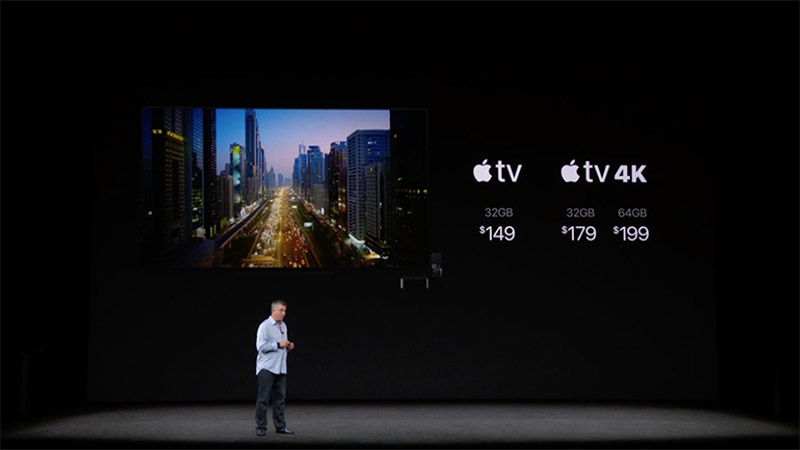 The new Apple TV offerings and their U.S. price points as shared at the event.