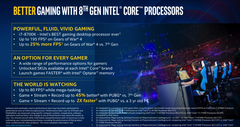 The new Coffee Lake processors are designed to outperform its predecessors in the CPU trifecta: Gaming, content creation, and overclocking. <br> Image source: Intel.