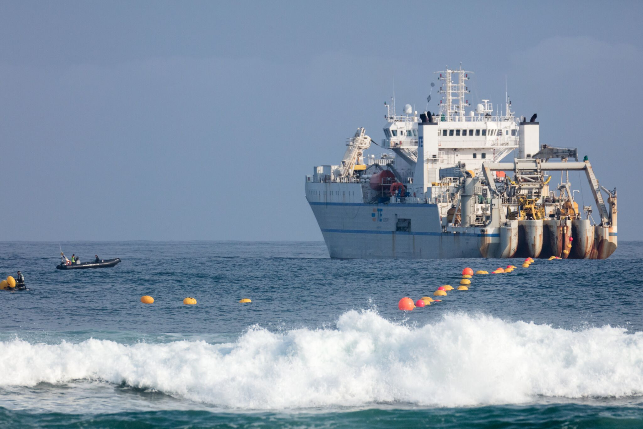 The Marea subsea cable being installed. <br> Image source: Microsoft.