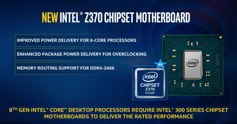 The new CPU will require a new Z370 chipset. <br> Image source: Intel.