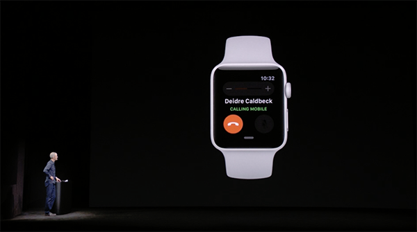 With cellular connectivity, you can make and take calls on your Apple Watch Series 3.