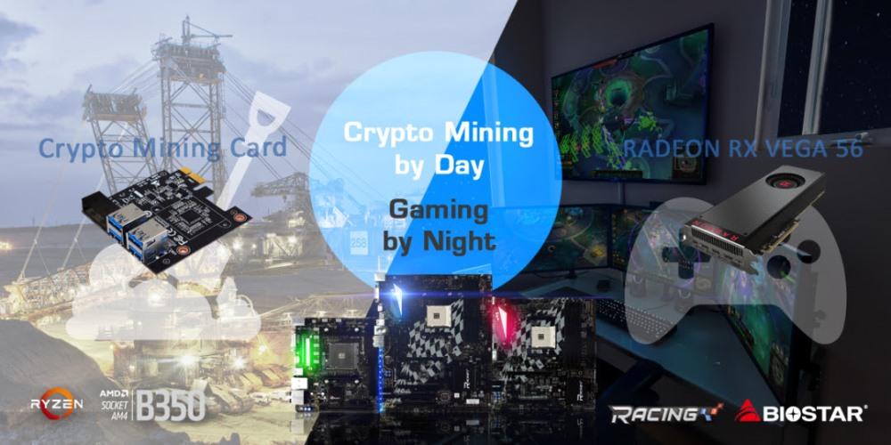 biostar, cryptocurrency, mining, bitcoin, gaming, radeon rx vega 56, graphics card, racing b350, motherboards