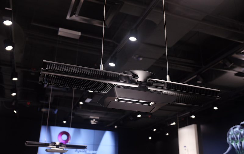 The suspended lighting that illuminates the Dyson Demo store caught our eyes. Turns out, it's a Dyson creation, known as the Cu-Beam Duo. It combines up and down light, with the two flaps housing a heat pipe to cool the single, high-power LEDs.