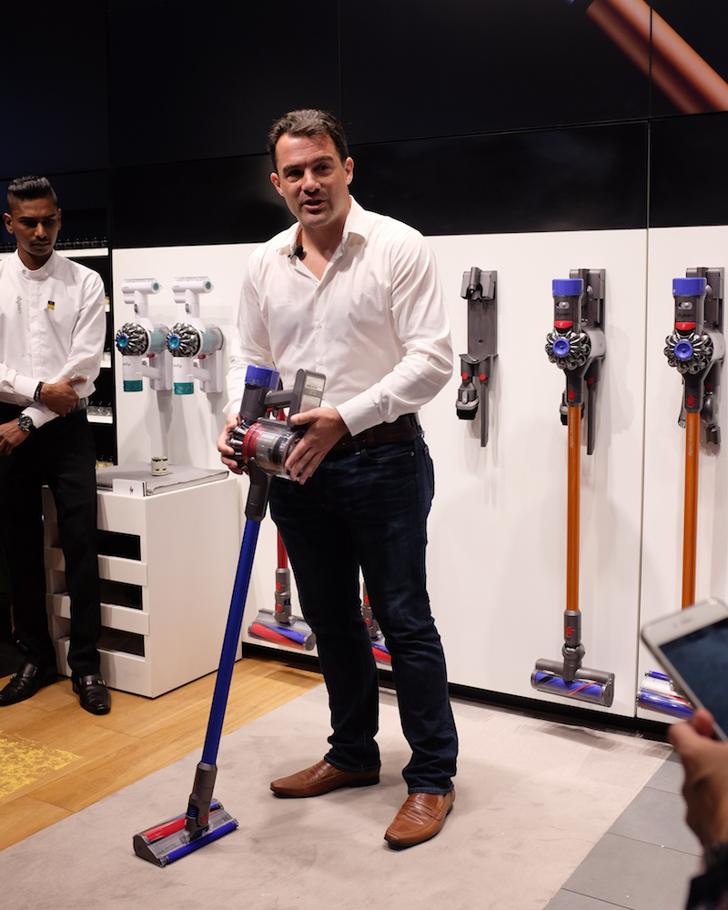 Jim Roovers, Dyson's Head of Electronics, with the new V8 cord-free vacuum.