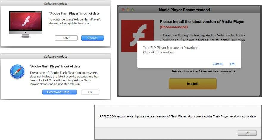 Users of browsers other than Google Chrome are offered to download adware disguised as Adobe Flash Player. (Image from Kaspersky Lab)