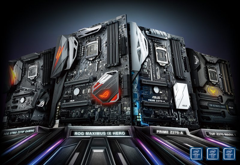 From left to right: The ASUS ROG Strix Z270F Gaming, ROG Maximus IX Hero, Prime Z270-A, and the TUF Z270 Mark 1.