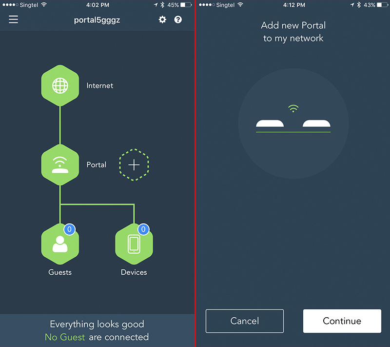 The app lets you manage some aspects of the router and also lets you add another Portal router to create a mesh network.