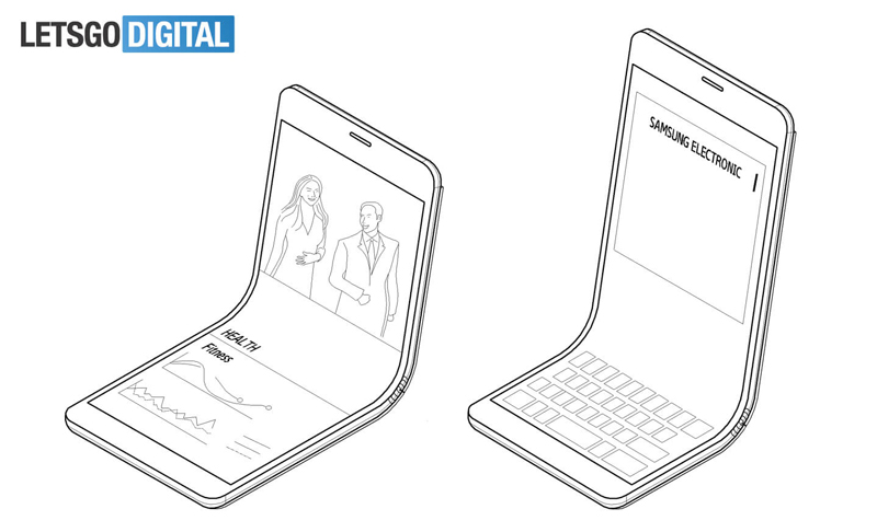 Patent renders of the bendable Samsung smartphone. Credit: LetsGoDigital.