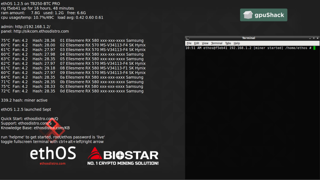 biostar, crypto mining, ethos, motherboard, plug-and-mine