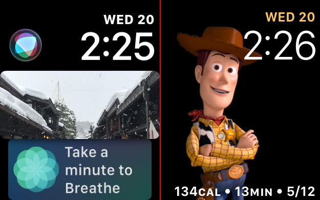 A sampling of watchOS 4's new watch faces.