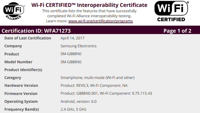 The Wi-Fi certification for the same device was issued in April this year.