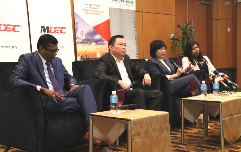 From L-R: Selva Nagappan. Managing Director, Knowledge Group; Dr. Karl Ng, Director Data Economy, MDEC; Datuk Yasmin Mahmood, CEO, MDEC; and Sharala Axrynd, CEO, ADAX during the press conference.