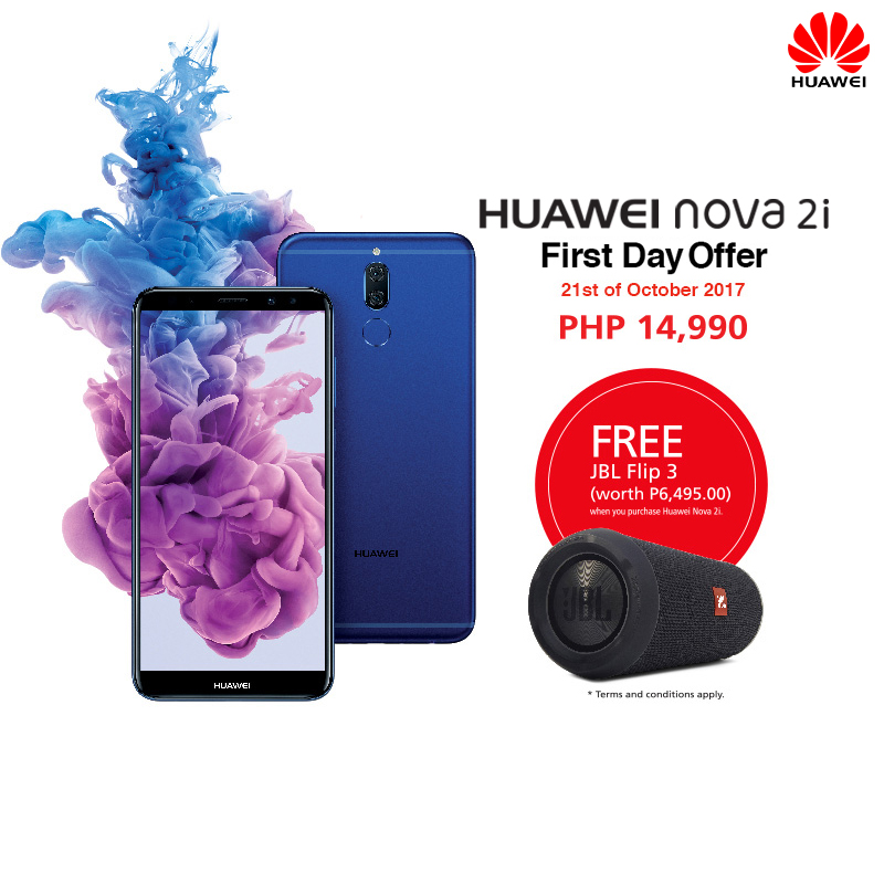 buy the new huawei nova 2i on its 39 first day promo 39 and get a jbl speaker for free. Black Bedroom Furniture Sets. Home Design Ideas