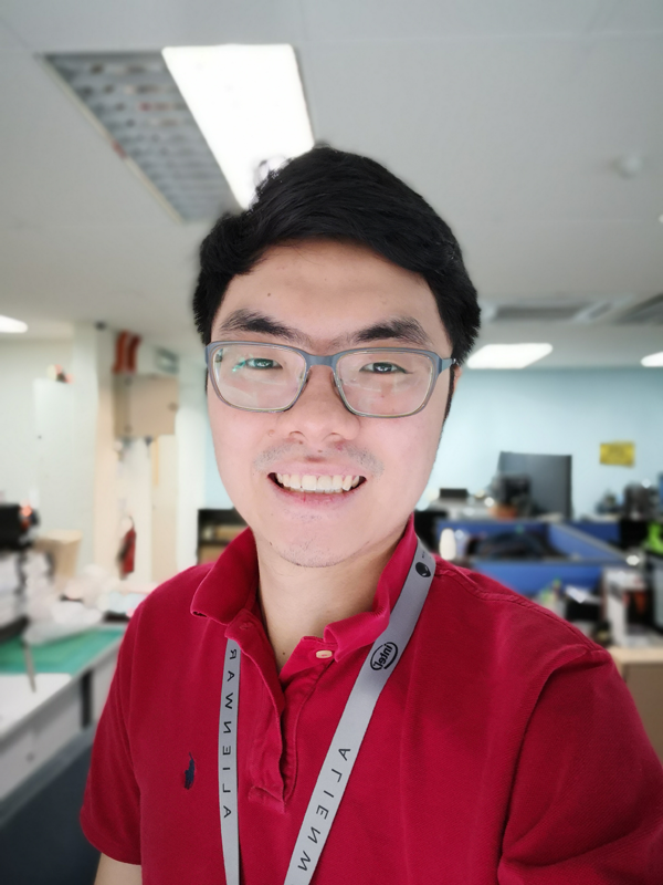 This selfie was captured in Portrait Mode with the 'artistic bokeh' effect applied, but with the beautification slider pulled all the way to zero. Click for full resolution.