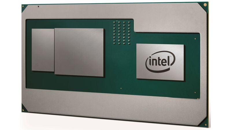 A fabrication of Intel and AMD's new CPU with Radeon GPU cores and HBM2. <br> Image source: PCGamer.