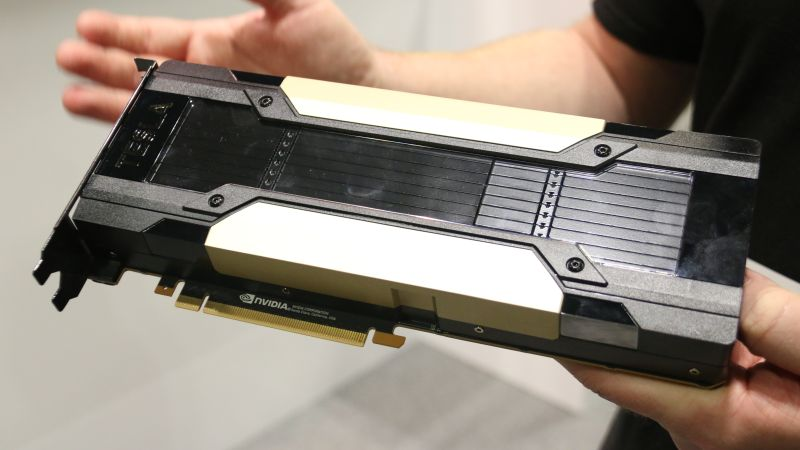 As an extra added bonus, we even got to see the Tesla V100 supercomputer GPU. the V100 is the replacement to last year's Tesla P100.