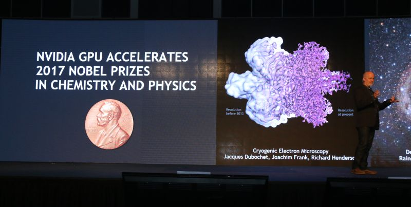 NVIDIA's GPUs have been used to study the gravitational shockwaves that are generated when two blackholes (pictured below) clash with each other.