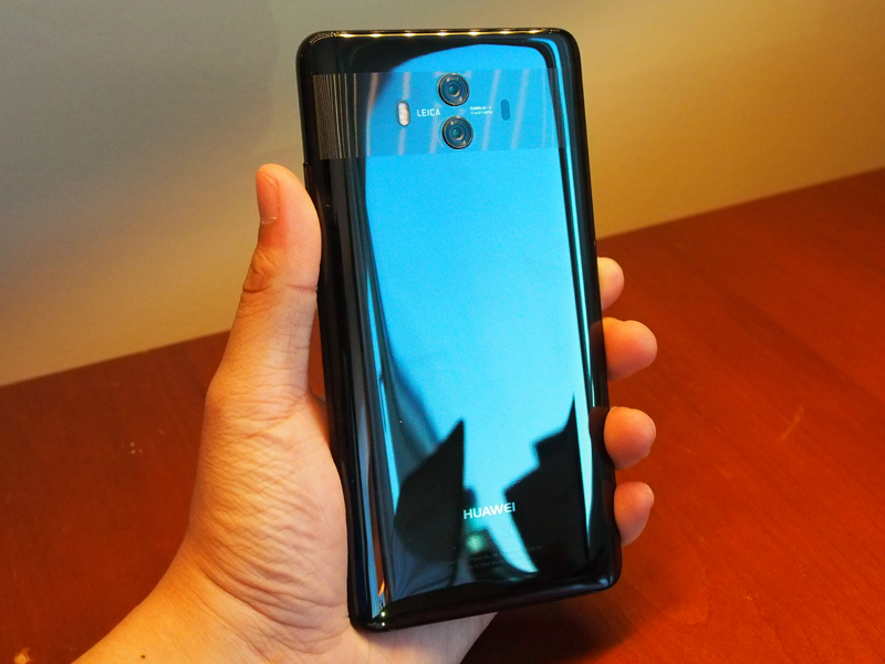 Huawei Mate10 in highly-polished Black.